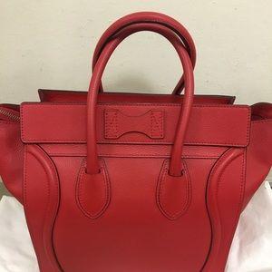 Celine Bags - Authentic Celine Luggage Mini Vermillion
